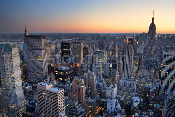 New York City Manhattan skyline panorama sunset aerial view with Stock photo © rabbit75_sto