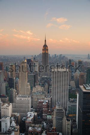 New York City Manhattan Empire State Building Skyline panorama coucher du soleil Photo stock © rabbit75_sto
