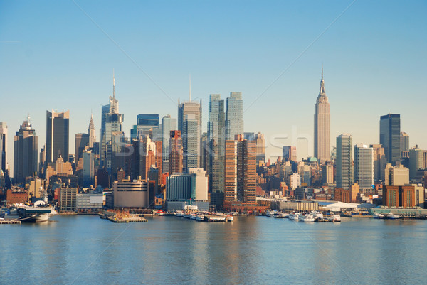 Photo stock: Manhattan · Skyline · New · York · City · rivière · bateaux · gratte-ciel