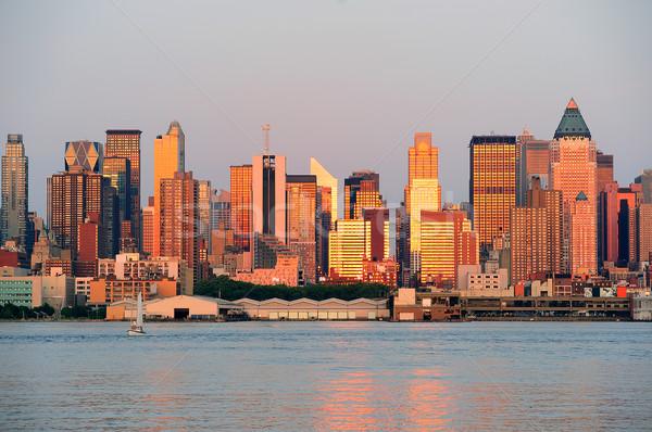 New York City manhattan pôr do sol rio linha do horizonte reflexão Foto stock © rabbit75_sto