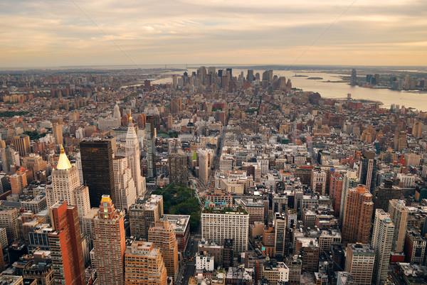 Stockfoto: New · York · City · Manhattan · zonsondergang · skyline · luchtfoto · kantoorgebouw