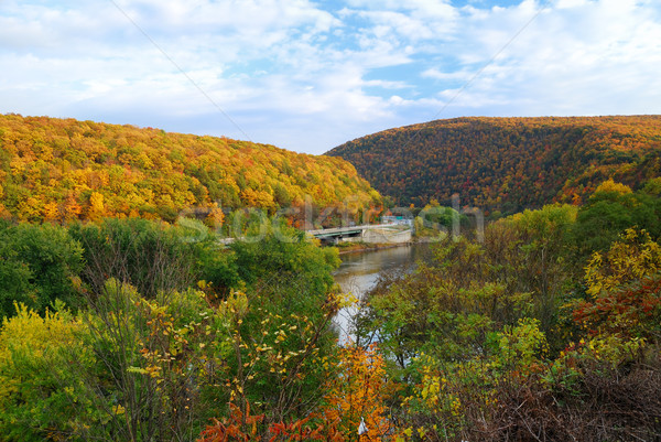 Stockfoto: Delaware · water · kloof · panorama · najaar · kleurrijk