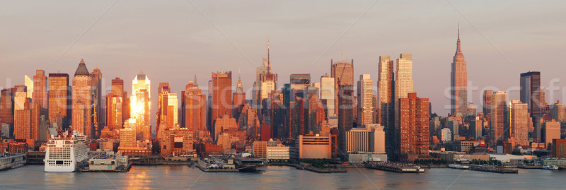 Foto stock: Manhattan · New · York · City · linha · do · horizonte · panorama · pôr · do · sol · Empire · State · Building