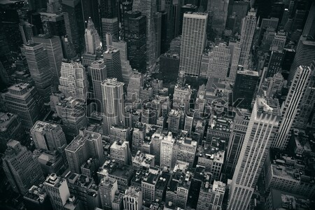 New York City Manhattan skyline luchtfoto zwart wit wolkenkrabbers Stockfoto © rabbit75_sto