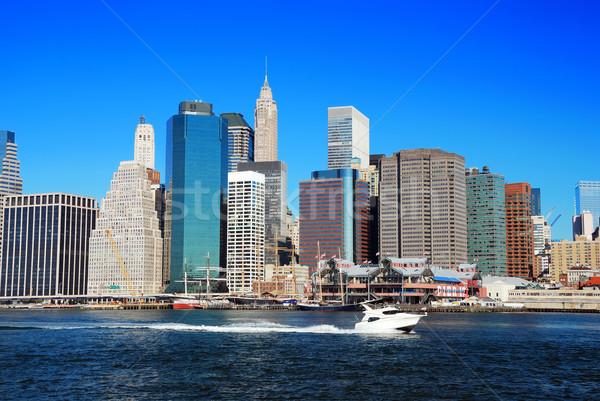 Manhattan New York City linha do horizonte panorama manhã arranha-céus Foto stock © rabbit75_sto
