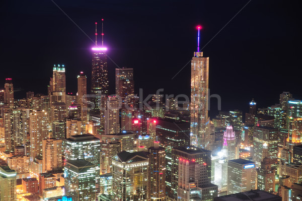 Chicago nacht luchtfoto centrum wolkenkrabbers Stockfoto © rabbit75_sto
