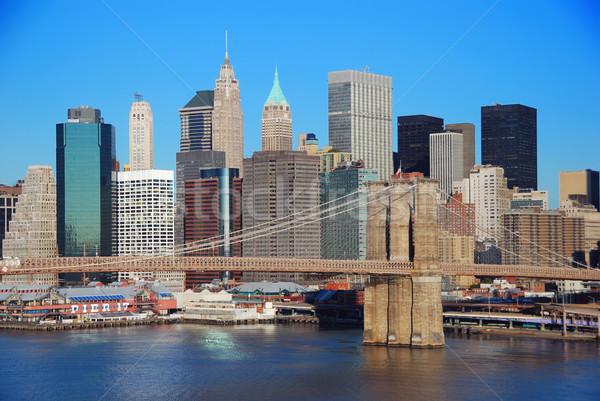 ニューヨーク市 スカイライン マンハッタン 橋 高層ビル 川 ストックフォト © rabbit75_sto