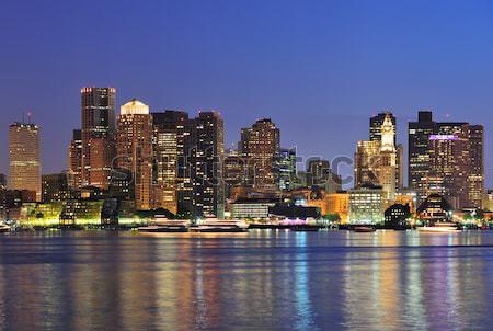 Boston downtown skyline at dusk Stock photo © rabbit75_sto