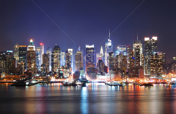 Foto d'archivio: Night · City · scena · New · York · City · Manhattan · skyline · notte
