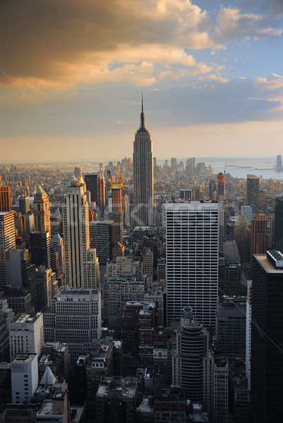 Foto stock: New · York · City · Empire · State · Building · crepúsculo · quente · pôr · do · sol