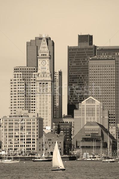 Бостон черно белые центра архитектура морем Сток-фото © rabbit75_sto