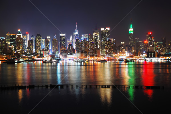 New York City réflexions nuit Skyline panorama rivière Photo stock © rabbit75_sto