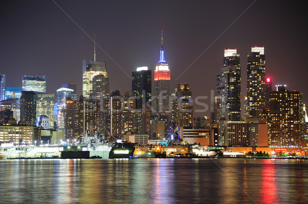New York City manhattan Skyline Nacht Lichter Reflexion Stock foto © rabbit75_sto