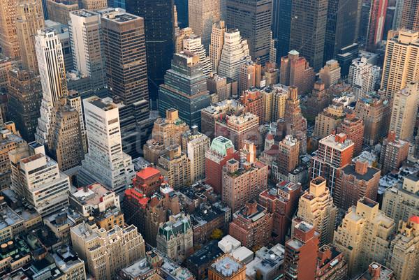 New York felhőkarcolók Manhattan sziluett légifelvétel utca Stock fotó © rabbit75_sto