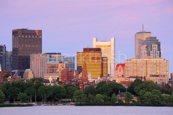 Photo stock: Boston · coucher · du · soleil · rivière · urbaine · gratte-ciel · ciel