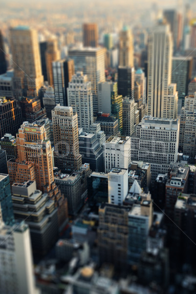 Stockfoto: New · York · City · skyline · Manhattan · luchtfoto · hemel · stad