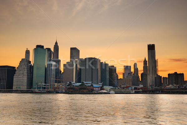 ニューヨーク市 日没 マンハッタン スカイライン 夕暮れ 川 ストックフォト © rabbit75_sto
