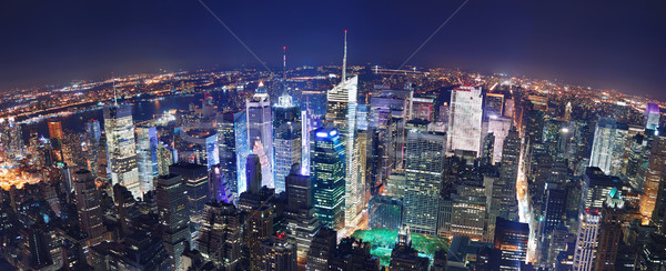 New York City Nacht Panorama manhattan Times Square Luftbild Stock foto © rabbit75_sto