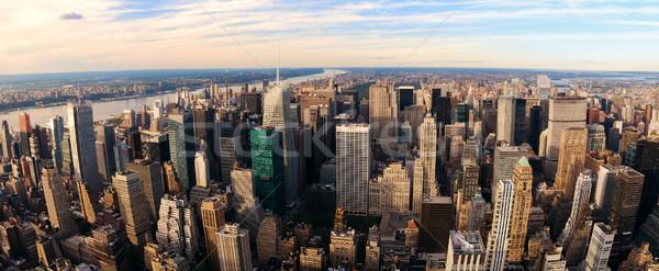 Нью-Йорк закат Панорама Manhattan антенна мнение Сток-фото © rabbit75_sto