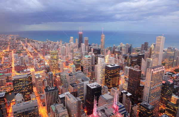 Chicago luchtfoto schemering centrum wolkenkrabbers Stockfoto © rabbit75_sto
