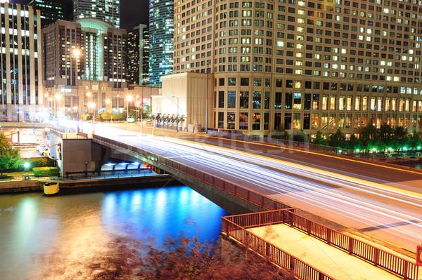 Foto stock: Chicago · rio · andar · urbano · arranha-céus · ponte