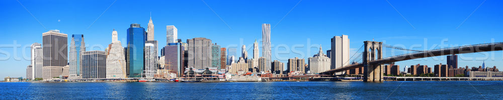 Foto stock: New · York · City · manhattan · linha · do · horizonte · panorama · ponte · arranha-céus