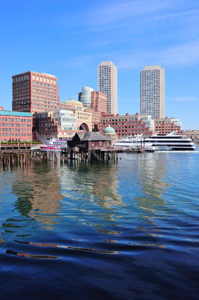 Бостон утра Небоскребы лодка небе Сток-фото © rabbit75_sto