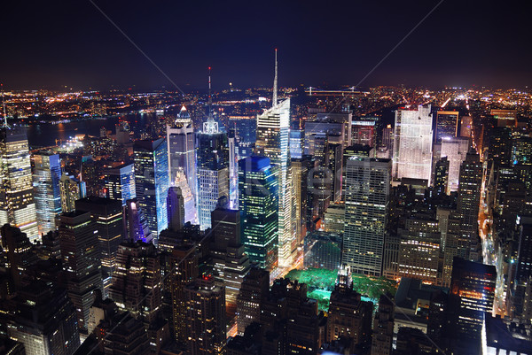 New York City Times Square Manhattan panorama luchtfoto nacht Stockfoto © rabbit75_sto