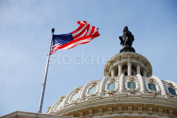 Foto stock: Bandeira · edifício · Washington · DC · voador · colina · casa