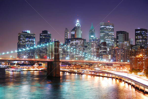 Stockfoto: New · York · City · Manhattan · brug · skyline · wolkenkrabbers · rivier