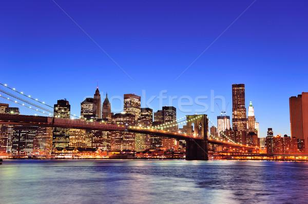 Brooklyn bridge with New York City Manhattan downtown Stock photo © rabbit75_sto