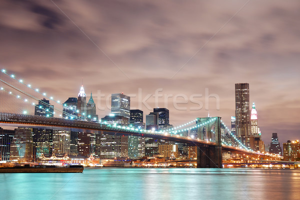 Stockfoto: New · York · City · Manhattan · skyline · panorama · brug