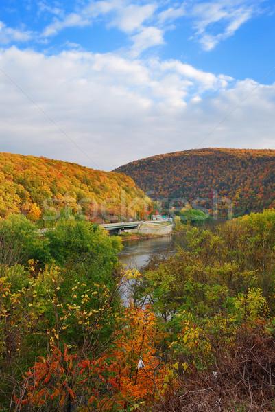 Delaware wody luka panorama jesienią kolorowy Zdjęcia stock © rabbit75_sto
