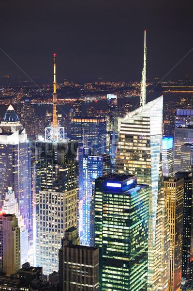 New York Manhattan Times Square éjszaka városkép légifelvétel Stock fotó © rabbit75_sto