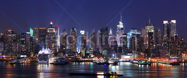 Nowoczesne Night City scena Nowy Jork Manhattan panoramę Zdjęcia stock © rabbit75_sto