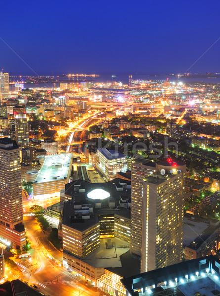 Miejskich Night City scena Boston widok z lotu ptaka wieżowce Zdjęcia stock © rabbit75_sto