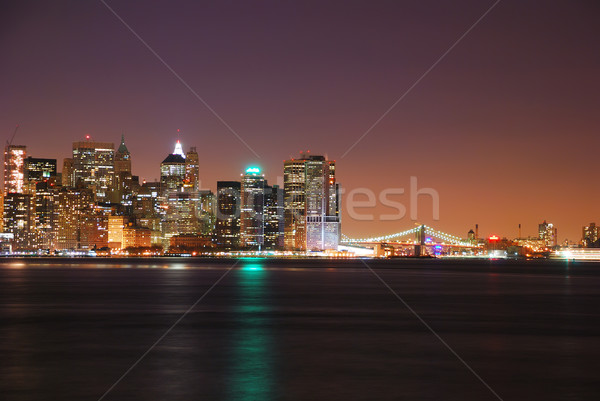 Moderne metropolis New York City nacht rivier business Stockfoto © rabbit75_sto