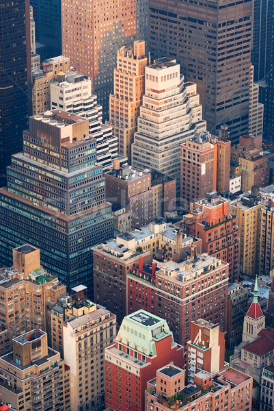New York City Manhattan skyline luchtfoto straat wolkenkrabbers Stockfoto © rabbit75_sto