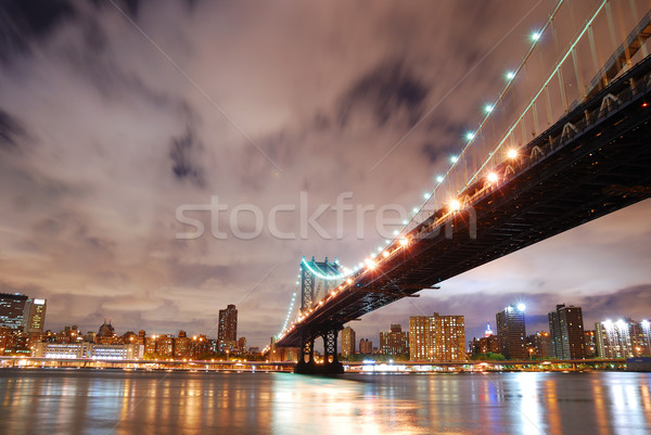 Stockfoto: New · York · City · Manhattan · brug · rivier · nacht