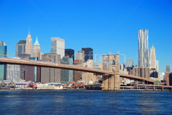Manhattan arranha-céus New York City linha do horizonte ponte rio Foto stock © rabbit75_sto