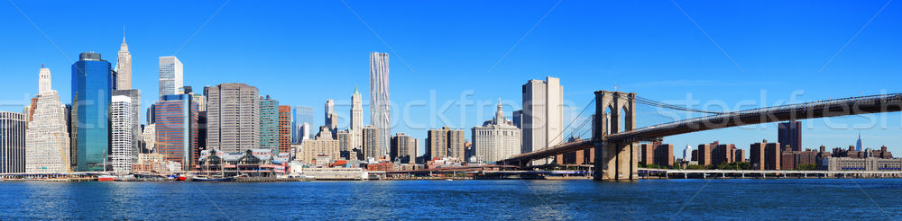 New York City manhattan Skyline Panorama Brücke Wolkenkratzer Stock foto © rabbit75_sto