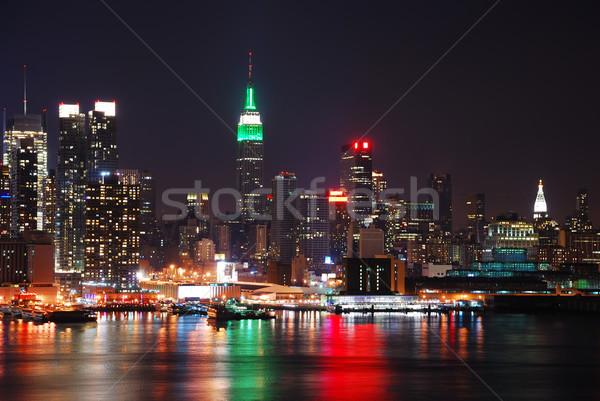 Manhattan New York ufuk çizgisi Empire State Binası nehir gece Stok fotoğraf © rabbit75_sto