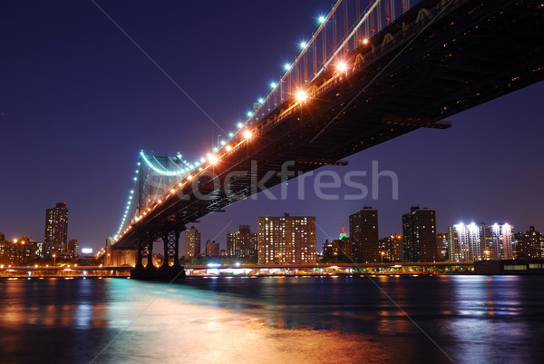 New York City manhattan Brücke Fluss Skyline Sonnenuntergang Stock foto © rabbit75_sto