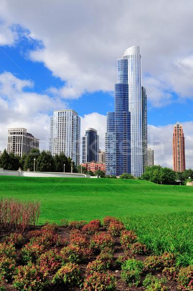 Foto stock: Chicago · linha · do · horizonte · parque · árvores · lei · nublado
