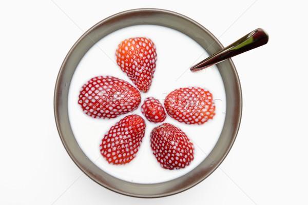 Fraises lait alimentaire fruits santé rouge Photo stock © rabel