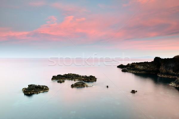 Purple закат синий Канарские острова пляж небе Сток-фото © rabel