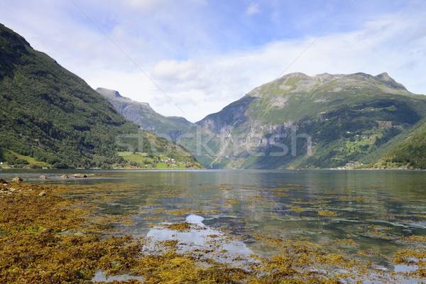 Ciel eau route paysage beauté vert Photo stock © rabel