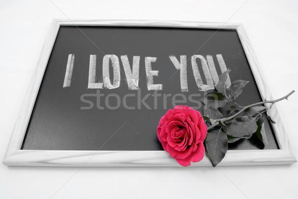 Amour rose boîte rouge cadeau présents Photo stock © rabel