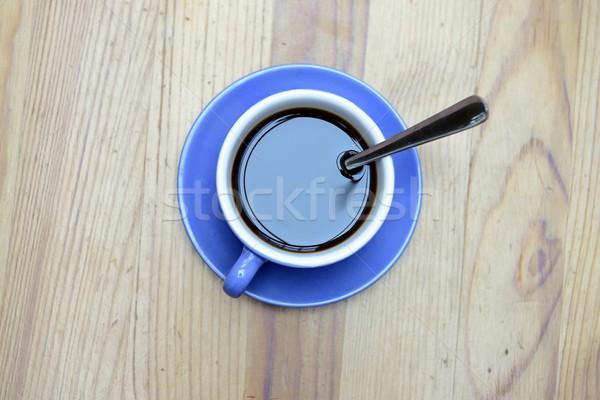 Bleu tasse bois café boire Photo stock © rabel