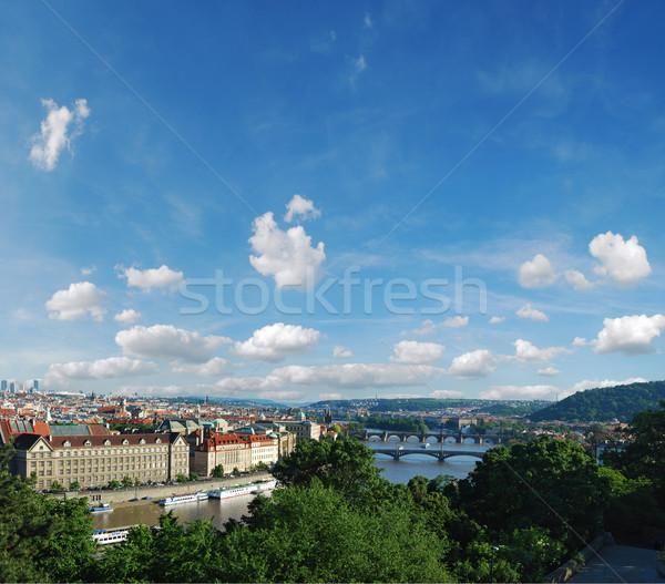 Büyük Prag panorama gökyüzü bulutlar binalar Stok fotoğraf © radoma